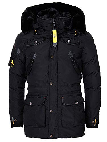Geographical Norway Herren Winterjacke – Modell Acore – Mantel mit Kapuze – Gefütterter Warmer Anorak - Outdoor Kapuzenjacke Winter 2019/20 (XXL, Schwarz)
