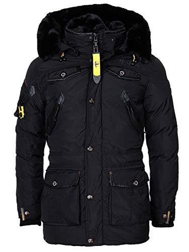 Geographical Norway Herren Winterjacke – Modell Acore – Mantel mit Kapuze – Gefütterter Warmer Anorak - Outdoor Kapuzenjacke Winter 2019/20 (M, Schwarz)