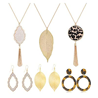 ZITULRY Long Pendant Necklace Dangle Drop Earrings Set for Women Girls Leopard Leather Leaf Tassel Necklace Tortoise Shell Acrylic Resin Earrings Gold 6 PCS