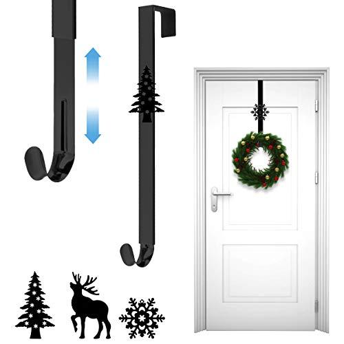 Xiangmall Ajustable Colgador Puerta Navidad Gancho de Guirnalda de Puerta en Metal para Exhibición Interior y Exterior (Negro)