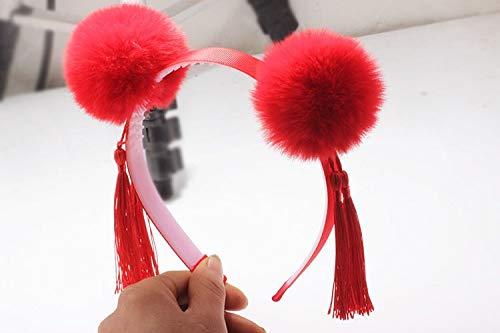 feiren Neujahrszubehör Haarband im chinesischen Stil, Hanfu Mädchen, Plüschhaar-Hoops, Quasten-Anhänger, Kinder-Haarband, Kopfbedeckung (Farbe: Armeegrün)