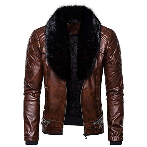 Chaqueta Cuero De Hombres,Chaqueta de moto retro informal con cuello de piel extraíble, abrigo de invierno para hombres abrigados Abrigo de piel sintética rompevientos, para andar en motocicleta,