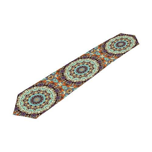 Hunihuni Camino de Mesa Indio Tribal Floral Mandala Mantel para Cocina, Cena, Sala, Vacaciones, Bodas, Banquetes, decoración de Fiesta
