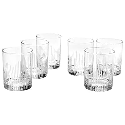 Amazon Brand – Rivet Modern 10 oz. Whiskey Glass, Clear with Decorative Etching - 6-Pack