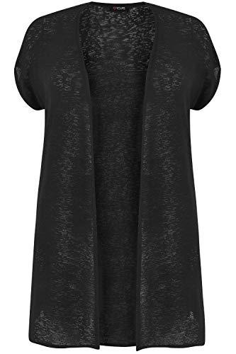 Yours - Black Short Sleeve Cardigan - Women's - Plus Size Curve