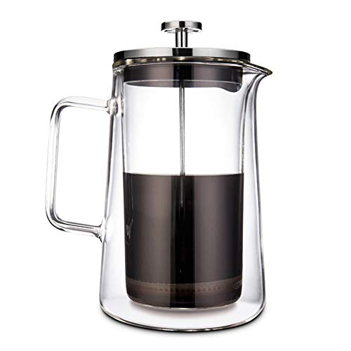 Vobajf Caffettiere a pistone French Press Pot a Doppio Strato ad Alta Vetro borosilicato tè e caffè 350ml cafetieres (Colore : Stainless Steel, Size : 350ml)