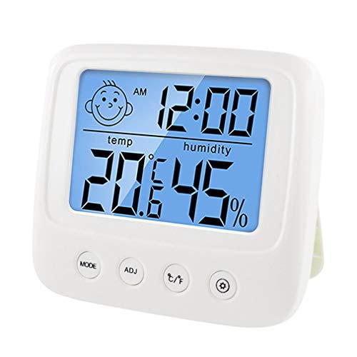 ASFD Termómetro multifunción de Pared Higrómetro Monitores electrónicos automáticos de Temperatura y Humedad Reloj Pantalla LCD Grande (retroiluminación Blanca)