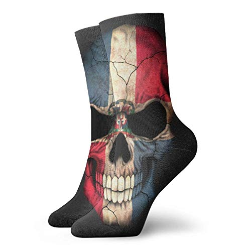 Drempad Luxury Sportsocken Dominican Republic Flag Pirate Skull Adult Short Socks Cotton Cool Socks for Mens Womens Yoga Hiking Cycling Running Soccer Sports