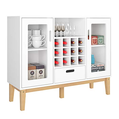 HOMECHO Aparador Moderno con Botellero para 12 botellas Armario de Vino de Gran Capacidad para Almacenamiento para Salon Comedor Cocina de Madera Blanco 100 x 33 x 80.5 cm