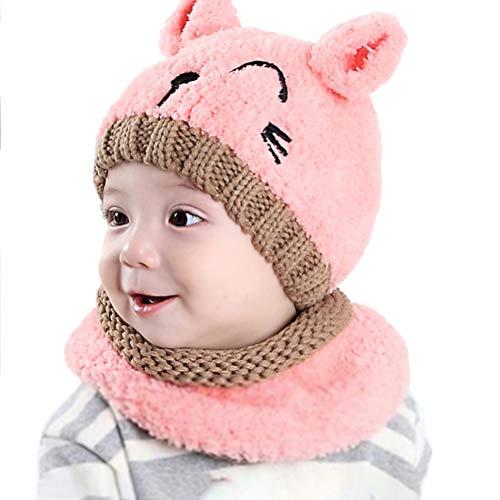 Hihey baby jongens kinderen meisjes winter sjaal muts, gebreide muts sjaal set halsdoek warme winter gehaakte muts set voor 1-4 jaar oude kinderen roze