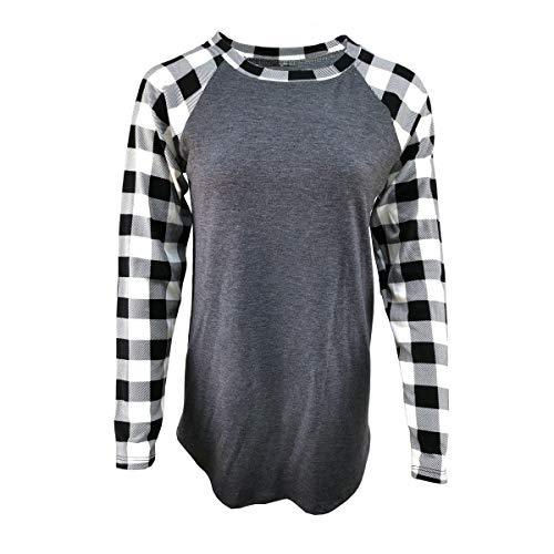 Buffalo Plaid Shirt Womens Plus Size Long Sleeve Elbow Patch Tunic Tops (XX-Large, Black White Plaid Sleeve Grey Body)