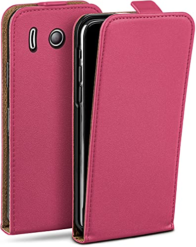 moex Flip Hülle für Huawei Ascend Y300 - Hülle klappbar, 360 Grad Klapphülle aus Vegan Leder, Handytasche mit vertikaler Klappe, magnetisch - Pink