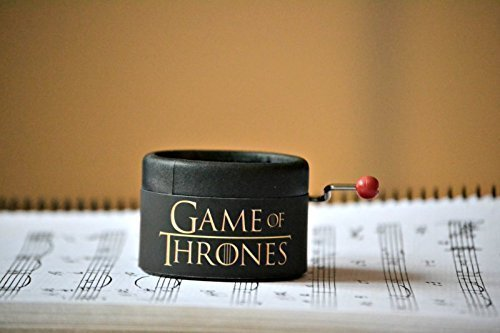 Piccolo carillon manovella decorato in nero con la melodia di Game of Thrones GOT. Un regalo per i fan della serie. Il Trono di Spade