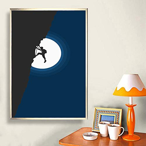 yhyxll Leinwand HD druckt Malerei Wand abstrakte künstlerische Klettern Mond Vogel Poster Moderne Wohnkultur Bilder für Wohnzimmer ohne Rahmen B 50x70cm
