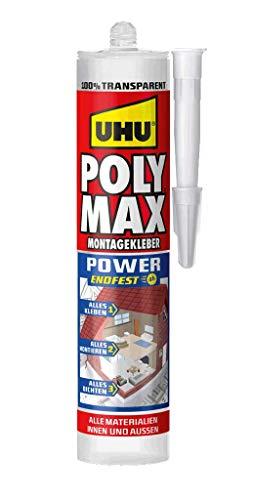 UHU Poly Max Glasklar Express Kartusche, Transparenter Montageklebstoff und Dichtmittel mit hoher Endfestigkeit, 300 g