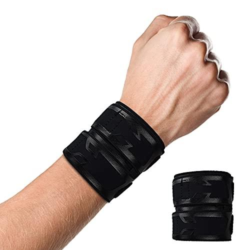 Milec Handgelenkbandage, Verstellbare Kompressions-Handgelenk Bandagen Elastische Handgelenkschoner, Handgelenkschutz zum Schutz beim Sport, Gewichtheben, Fitnessstudio - Einheitsgröße / Schwarz