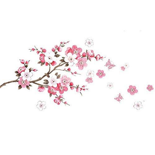 HBWHY Papel Pintado Plum Blossoms Wall Sticker Sala Dormitorio Armario Decoración Mural Extraíble Hermosas Pegatinas Decoración Del Hogar, Rosa
