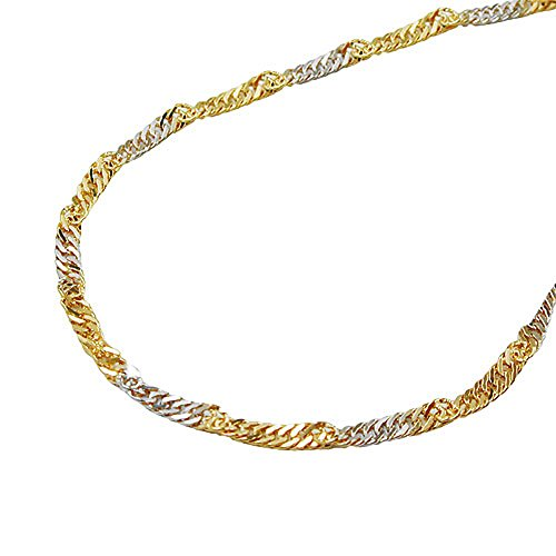 ASS 333 Gold Singapore ketting 50 cm 2,4 mm Singapore-ketting tweekleurig, gediamanteerd, witgoud, geelgoud