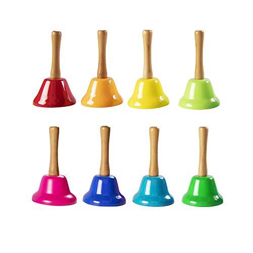 Fat Brain Toys Rainbow Music Hand Bells with Wood Handles...
