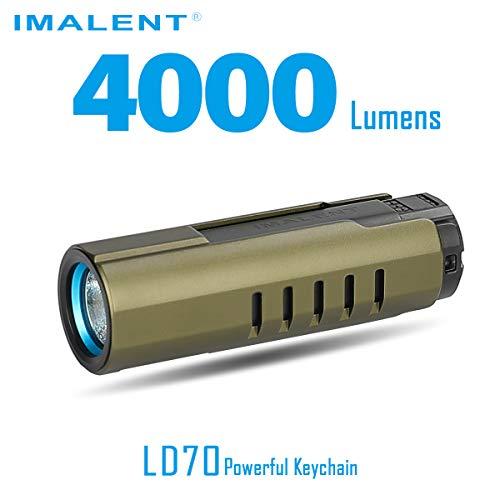 IMALENT LD70 EDC linterna LED recargable de alto rendimiento, 4000 lúmenes, utiliza CREE XHP70.2 LED, con pantalla OLED 6 niveles de corrección para camping y senderismo