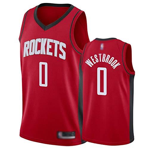 WWSC Jerseys # 0 Russell Westbrook Rockets Fan Trikot, Jungen Basketball Weste Jersey, 20 Saison neu Feine Stickerei Uniform Sport tragen rot schwarz-A_XL_Partygeschenk