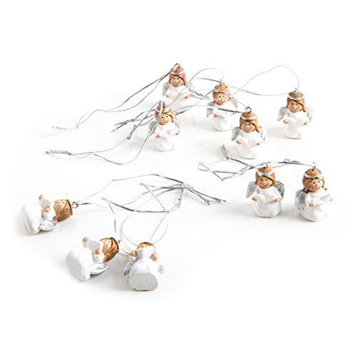 10 kleine süße Engelanhänger weiß silber Weihnachtsanhänger ENGEL 3,5 cm Engelfigur Schutzengel Kinder Kommunion Weihnachts-Deko Christbaumschmuck zum Aufhängen shabby chic