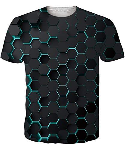 Fanient Herren Damen Aufdruck T-Shirt Rundhals Tee S M L XL XXL, Bunte Tinte, XXL