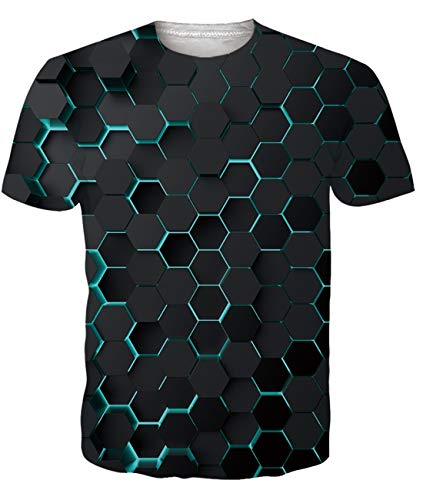 Fanient Herren Damen Aufdruck T-Shirt Rundhals Tee S M L XL XXL, Bunte Tinte, XL