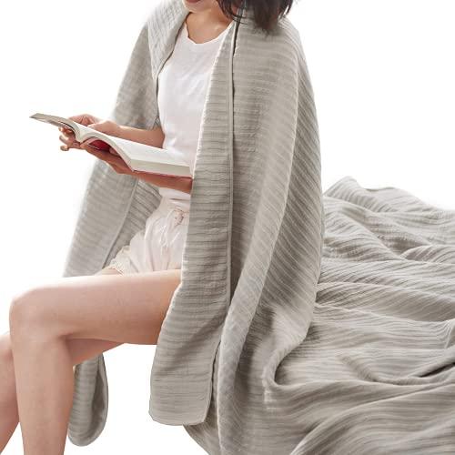 Tagesdecke, Sommerdecke aus 90prozent Baumwolle & 10prozentLeinen, Sofadecke mit Kräuselung (140 x 200 cm, Grau )