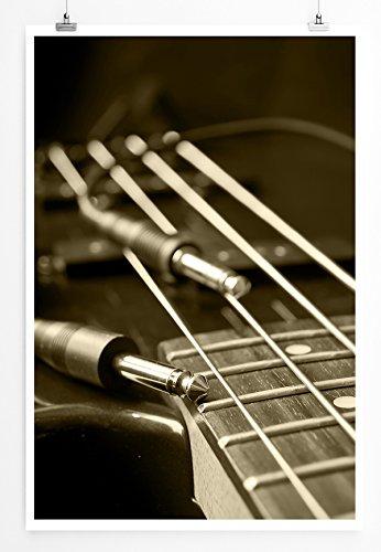 Eau Zone Home Bild - Guitarra eléctrica con Conexiones, diseño de Foto, Cuadro de Lienzo, High End, 60 x 90 cm, tenso, LEINWANDBILD gespannt 90x60cm