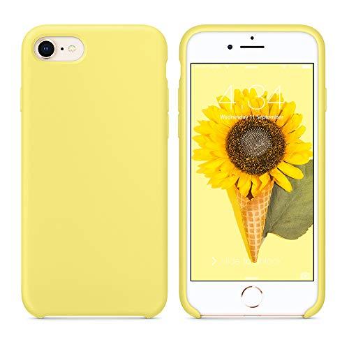 SURPHY Cover Compatibile con iPhone SE 2020/iPhone 8/iPhone 7, Custodia per iPhone SE 2020/8/7 Silicone Slim Cover Antiurto con Fodera in Microfibra Case per iPhone SE 2020/8/7 4.7 Pollici, Giallo
