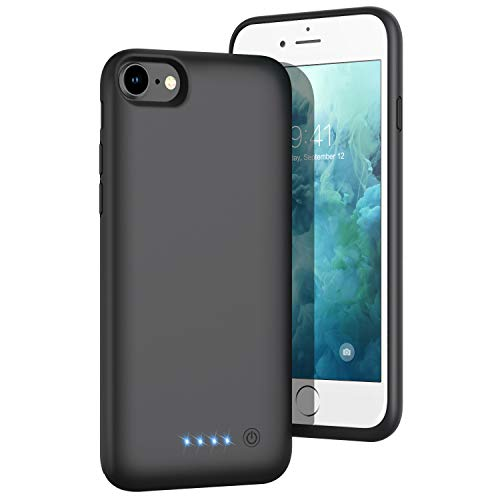 Battery Case for iPhone 8/7/6s/6/SE(2020), [6000mAh] Upgraded Charging Case Rechargeable Battery Pack for iPhone 8/7 Portable Charger case for iPhone 6S/6 /SE(2020)(4.7 inch)-[Black]