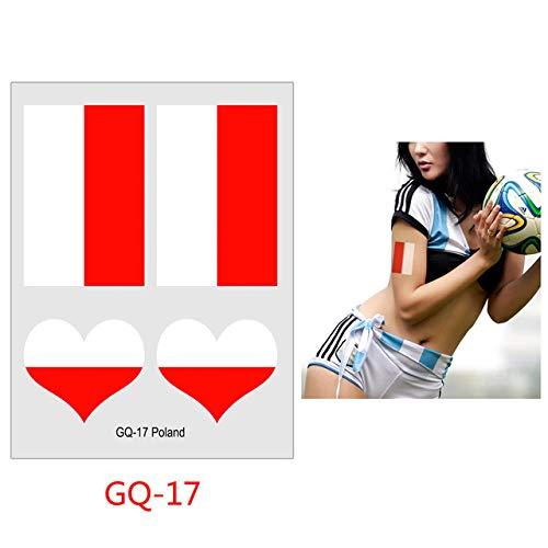 tzxdbh 7 Stücke-Flagge Tattoo Fußball Fußballspiel Fan Tattoo Aufkleber 6 cm * 8 cm 7 Stücke-