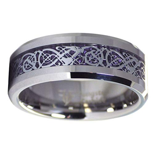 Fantasy Forge Jewelry Royal Purple Celtic Dragon Ring Womens Mens Tungsten Wedding Band 8mm Size 11