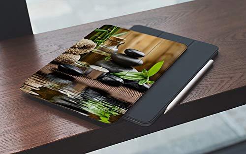 MEMETARO Funda para iPad 10.2 Pulgadas,2019/2020 Modelo, 7ª / 8ª generación,Zen Basalt Stones Bamboo on Wood and Water Meditation Yoga SPA, Smart Leather Stand Cover with Auto Wake/Sleep