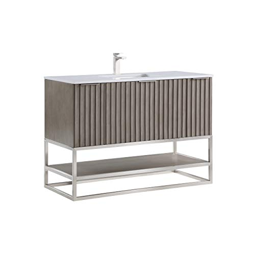 "Terra 48"" Bathroom Vanity and Sink Set, Greywash with White Granite Counter Top and Ceramic Undermount Sink"