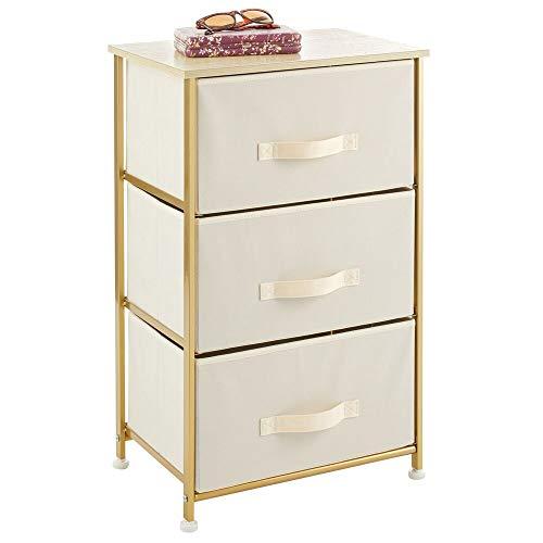 mDesign Mesita de noche con 3 cajones – Cajoneras para armarios fabricadas en tela, metal y MDF – Cómoda pequeña decorativa para el dormitorio o el salón – crema/dorado latón