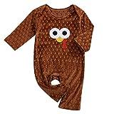 Thanksgiving Kids Newborn Baby Boys Girls Romper Outfit Turkey Print Bodysuit Jumpsuit Onesies Clothes Set (Brown, 18-24 Months)