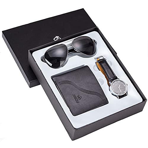 ZOZIZZ Set de Regalo de Reloj de Hombres + Gafas de Sol de Billetera Conjunto de Juegos de Regalo de combinación Creativa Fresco Conjunto de Reloj con Caja de Embalaje bellamente,Negro