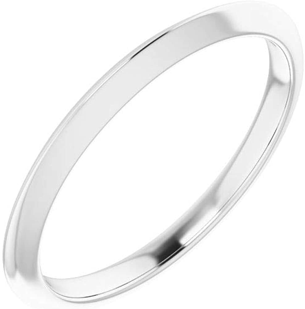 Solid 14k White Gold Matching Ring Band 7 Size = Very Max 69% OFF popular - Width 2mm
