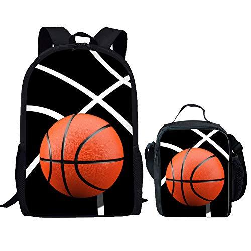Nopersonality Schulrucksack für Jungen und Kinder, Schulranzen mit Lunchtasche Set Basketball Baseball Fußball Tennis, Basketball 1 School Bag Set (Schwarz) - Nopersonality