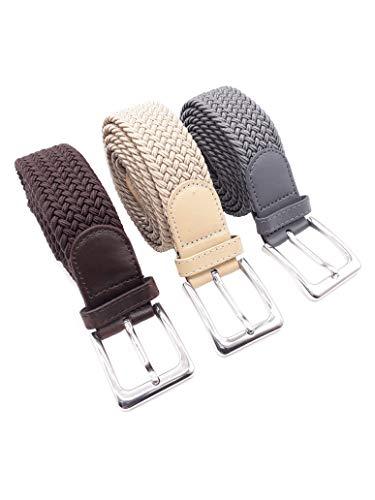 Speed 3 Stück Stretchgürtel mit 110 cm Gesamtlänge und 3,5 cm Breit elastische geflochtene u dehnbar 1 x Braun 1 x Beige und 1 x Grau.