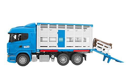 Bruder 03549–Camion bétaillère Scania r-série con 1animale–Blu