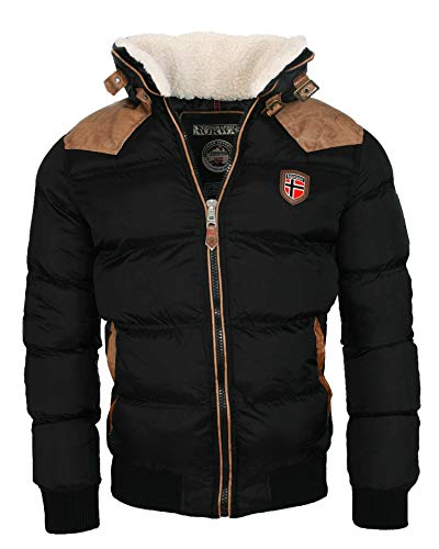 Geographical Norway warme Winterjacke Designer Herren Winter Stepp Jacke [GeNo-31-Schwarz-Gr.L]