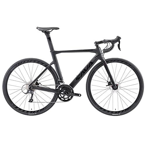 SAVADECK Bicicleta de Carretera Carbona, Bicicletas de 700C y con Shimano Sora R3000 Sistema, Derailleur Freno de Disco de 18-Velocidad Y Sistema de Axis, Bicicletas para Hombre, Mujer. (Gris, 51cm)