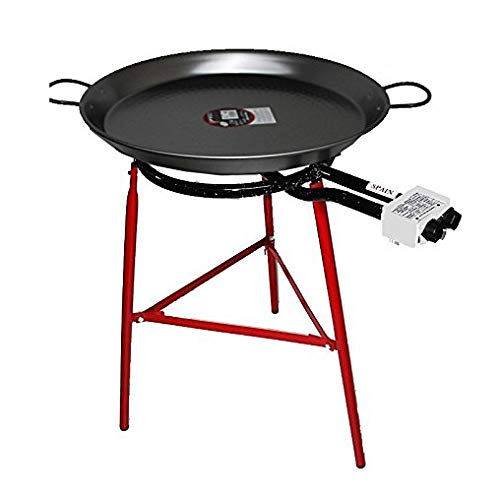Paella Cooking Set with 60cm Polished Steel Paella Pan, Gas Burner, Legs and Skimming Spoon
