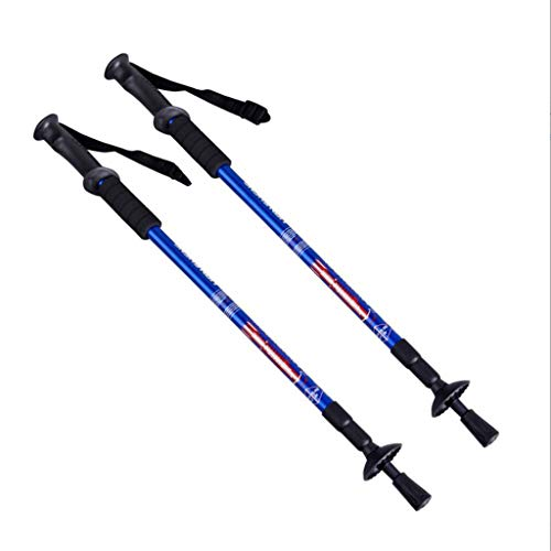 WFWT Bastones de Trekking Productos 1 par (2 Polos) Ajustable antichoque Fuertes y Ligeros de Aluminio Bastones de Senderismo para Caminar o Trekking,2