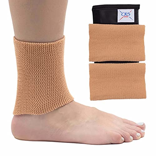 CRS Cross Ankle Gel Sleeves - Padded Skate Socks Ankle Protection (Figure Skating, Hockey, Roller, Inline, Riding, ski or Equestrian Tall Boots) (Tan, 2 Ankle Gel Sleeves)