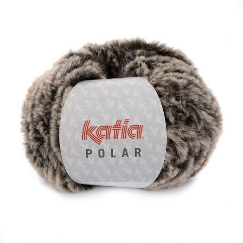 Katia Polar Fb. 86 - visón, 100g Flauschwolle zum Stricken und Häkeln, Wolle Felloptik