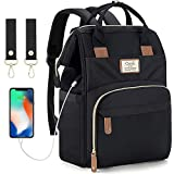 Baby Wickelrucksack Wickeltasche mit USB-Ladeanschluss und 2 Kinderwagengurten Multifunktional Große Kapazität Babytasche Reisetasche für Unterwegs (Schwarz)